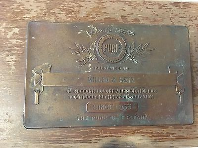 Vintage 1950s Bronze Pure Oil Service Award on Wood Plaque, Miller And Metz