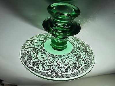 Beautiful Old Vintage Green Glass And Gold Etched Victorian Candle Stick Holder