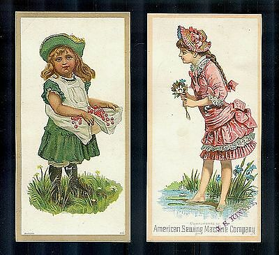 Cute Little Tomboy & The Pretty Girly Girl-2 Victorian Trade Cards