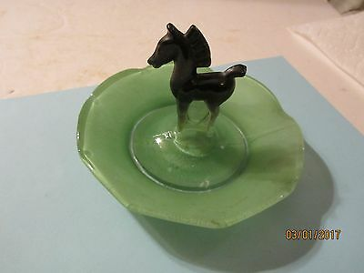 Vintage Green Glass Ashtray/Candy Dish with Black Horse in the Center