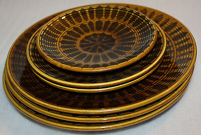 Lot of 6 Vintage Brown Plates Royal Stone China Genuine U.S.A Freezer Oven Serve