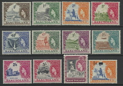 Basutoland 46 to 56 complete set & 57 w/value overprints - mh Elizabeth II