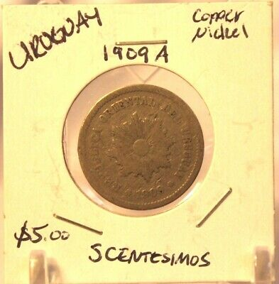 1909 A Uruguay 5 Centismos Coin with Display Holder Thecoindigger World Estates