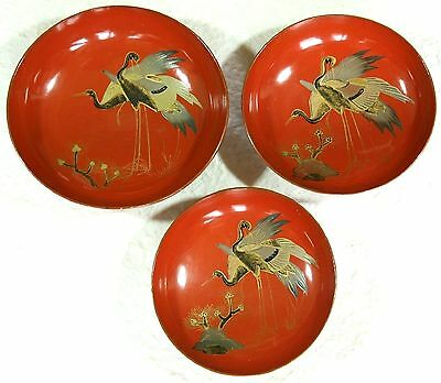 Japanese Vintage Lacquer Ware Wood 3 Sake Cup Plate Crane Pine Red