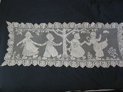 ANTIQUE FILET LACE RUNNER DUTCH FIGURAL FOLK DANCING 16x42""