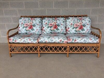 Henry Link Rattan/wicker/bamboo Floral Sofa/settee/couch (75 Inches Wide)