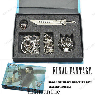 Game Final Fantasy VII FF7 Cloud necklace bracelet ring brooch Sword 5PCS Set