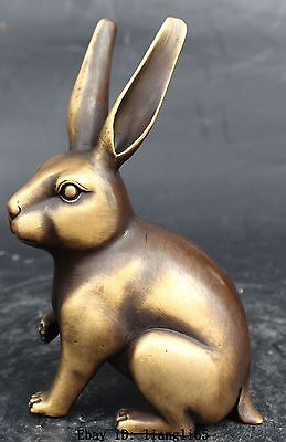 """6"""" Chinese Copper Feng Shui Folk Zodiac Year Rabbit Coney Cony Statue Sculpture"""