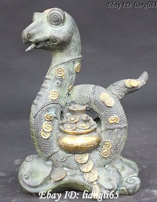 Chinese Bronze Gild Folk Wealth treasure bowl Zodiac Year Snake Statue sculpture