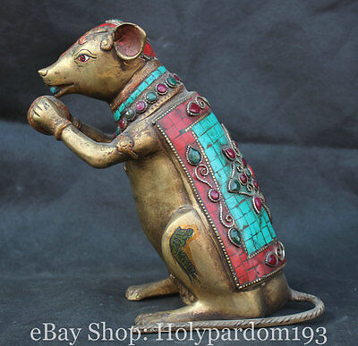 """8"""" Old Chinese Turquoise Gilt Bronze Feng Shui Zodiac Year Mouse Rat Statue"""