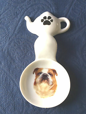 English Bull Dog New Handmade Ceramic-Porcelain Tea Bag Caddy Spoon Rest