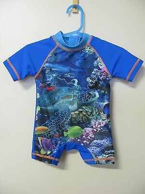 Baby bathers swimmers togs swimsuit aquarium fish blue size 000 0-3 months