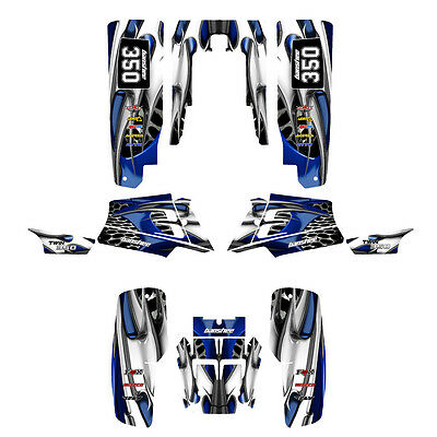 Yamaha Banshee 350 graphics custom full coverage sticker kit #4444 Blue Tribal