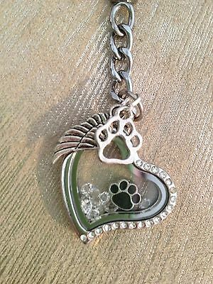Pet Memorial Floating Key Ring - Heart with Paw Prints and Angel's Wing