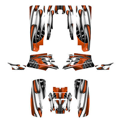 Yamaha Banshee 350 graphics custom full coverage decal kit #4444 Orange Tribal