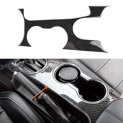 Carbon fiber Water cup frame panel Cover for Ford Mustang 2015-2017