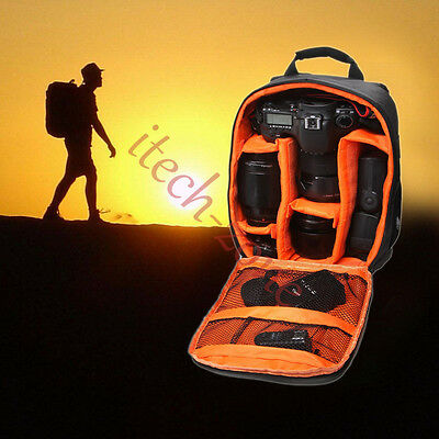Camera Backpack DLSR Accessories For Canon Nikon Video Cameras Cases Bags Orange