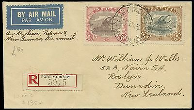 Papua 1934 Air Mail Registered cover to New Zealand with 5d. & 6d. E1565