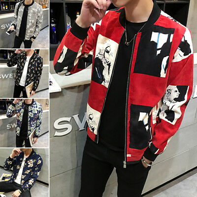 New Stylish Men Slim Fit  Zipper Coat Jacket Tops  Collar Men's Jacket