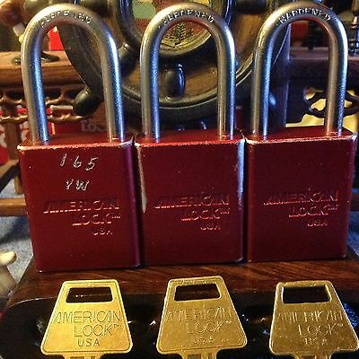 "Three (KA)  American Series 1106R 1-1/2"" Aluminum Body Padlocks  * Great Lock*"