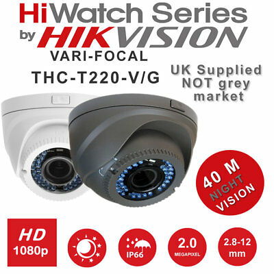 Hiwatch THC-T220-V 2MP In/Outdoor 40m IR Vari-focal Dome CCTV Camera IP66 UK