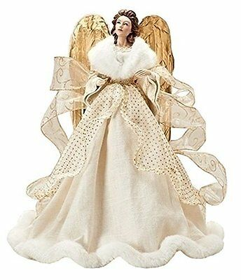 Roman Christmas Tree Topper Ivory Linen Angel Fur Gold Wings Decor Heirloom 18""