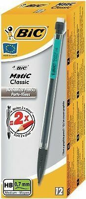 12 PACK BiC AUTOPENCIL MATIC WITH 3 x HB 0.7mm LEAD (SURTIDO CLIP COLORES)