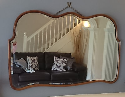 Large Antique Overmantle Wall Mirror Art Deco Or Victorian Cloud Shape