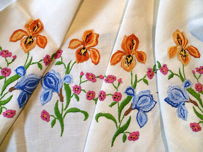Vintage Heavily Hand Embroidered Gorgeous Iris Flowers ~ Tablecloth