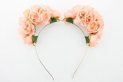 Fashion Mickey Mouse Flower Headband Crown Wedding Boho Garland Floral Hairband