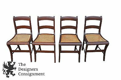 4 Antique Duncan Phyfe Sheraton Style Cane Seat Dining Chairs Mahogany