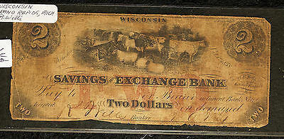 Wisconsin Savings and Exchange Bank of R. Wells Grand Rapids $2 Obsolete Note!