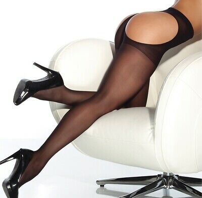 Coquette Black Sheer Thong Back Hosiery Tights Pantyhose Hosiery One Size