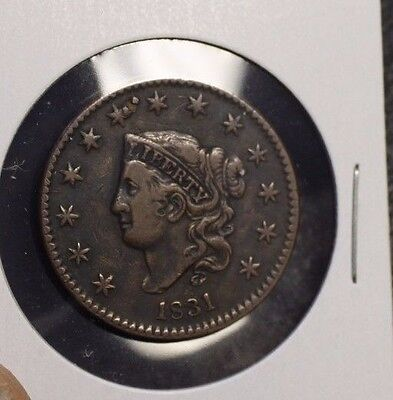 1831 US Large Cent Coronet Head circulated a very nice coin