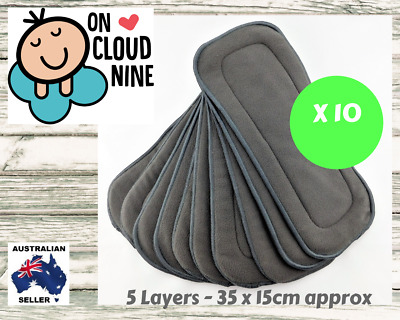 5-Layer Inserts Reusable Bamboo Charcoal Liners for Baby Modern Cloth Nappy 10 X