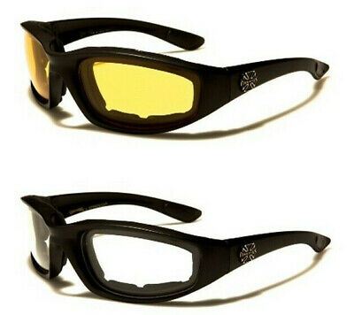 CHOPPERS Mens Black UV400 Motorcycle Driving Riding Glasses Padded Black Lens
