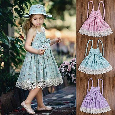 Kids Baby Girls Lace Sleeveless Princess Pageant Holiday Dresses Summer Clothes