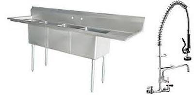 "Stainless Steel 3 Compartment Sink 90"" x 24"" w/2 Drainboards w/Pre-Rinse Faucet"