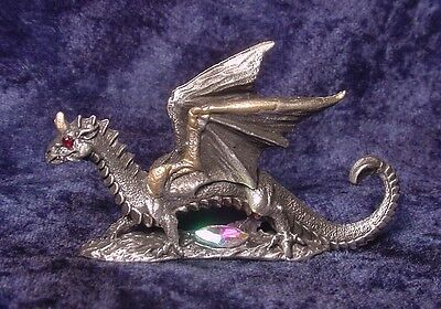 Pewter Dragon with Red Crystal Eyes & Crystal Accent
