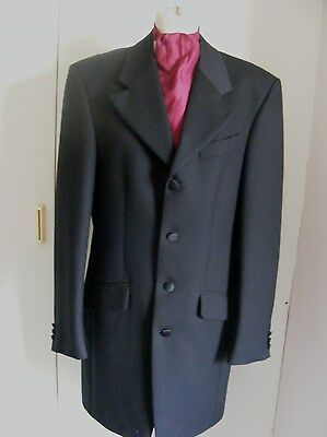 Black Prince Edward long length jacket frockcoat free silk cravat chest 38L