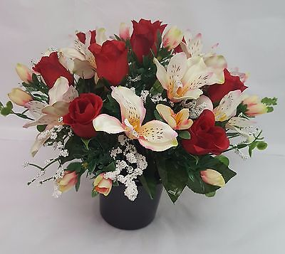 Artificial Flowers All Round Grave Arrangement Alstro Rosebud Red Lemon