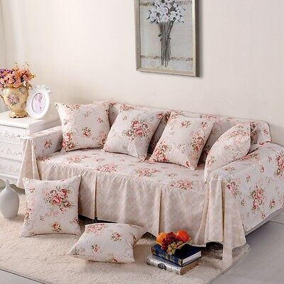 Check Cotton Blend Slipcover Sofa Cover OUKl Protector for 1 2 3 4 seater ln