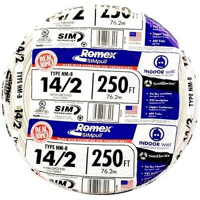 14-2 AWG 250-Ft Roll NM-B Gauge Indoor Electrical Copper Wire Ground Romex Cable