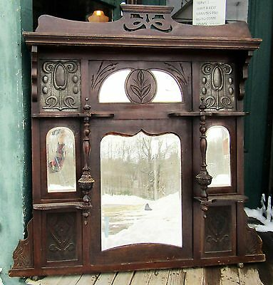 Victorian Era Over Mantle Or Hall Mirror With Art Nouveau Panels