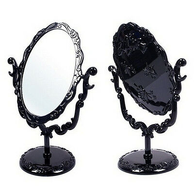 Girl Desktop Rotatable Gothic Rose Makeup Stand Mirror Black Butterfly EP