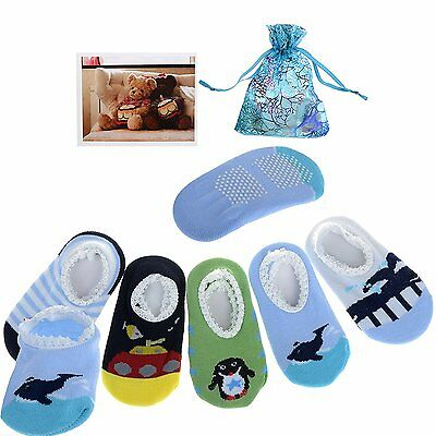 Yantu 5 Pairs Newborn Baby Boys Toddler Anti Slip Skid Slipper foot Socks + Gift