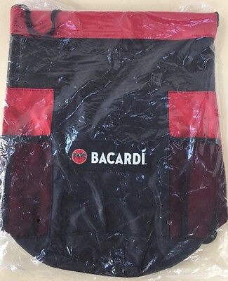 BACARDI Rum Red & Black Drawstring Mesh and Plastic Beach Tote Bag (NEW)
