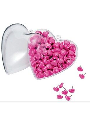 """Office Depot® 400ct Heart-Shaped Push Pins In Matching Container, 1/2"""", Pink,400"""