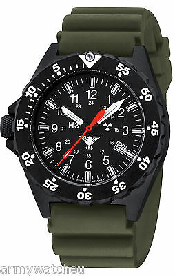 KHS Tactical Watches Black Shooter Date Trigalights © Diver Band Oliv KHS.SH.DO
