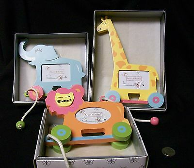 3 Vintage Wood Baby Photo Frames Jungle Animals Pastel NIB Heart & Home